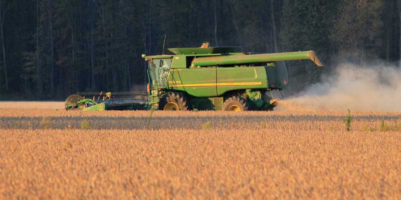 farm machinery harvesting grain